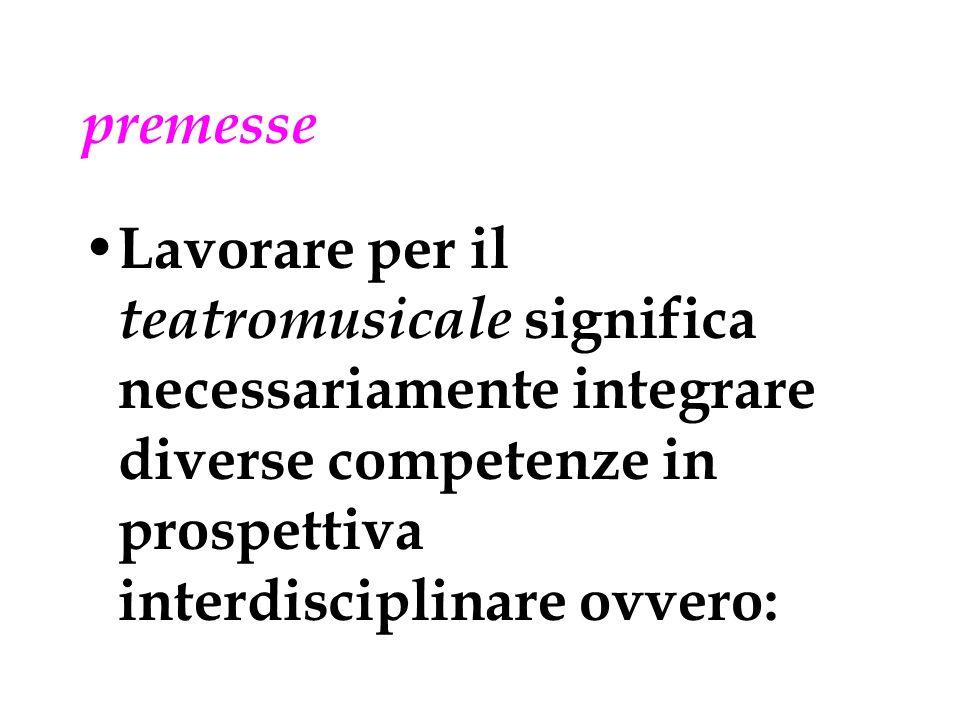 premesse Lavorare per il teatromusicale significa necessariamente integrare diverse competenze in prospettiva interdisciplinare ovvero:
