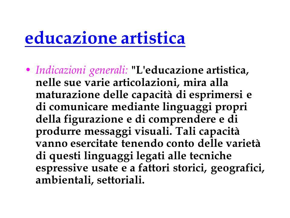 educazione artistica Indicazioni generali: