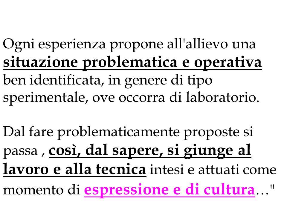 Ogni esperienza propone all'allievo una situazione problematica e operativa ben identificata, in genere di tipo sperimentale, ove occorra di laborator