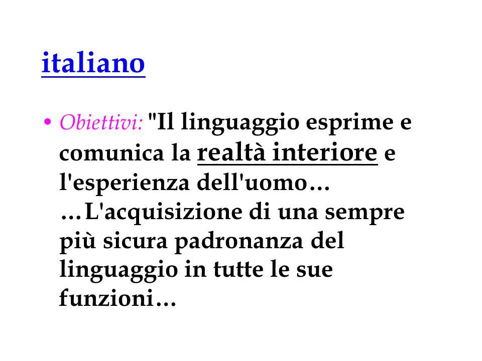 italiano Obiettivi:
