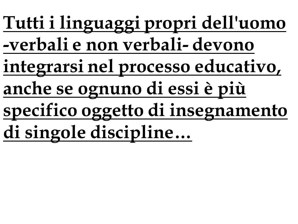 Tutti i linguaggi propri dell'uomo -verbali e non verbali- devono integrarsi nel processo educativo, anche se ognuno di essi è più specifico oggetto d