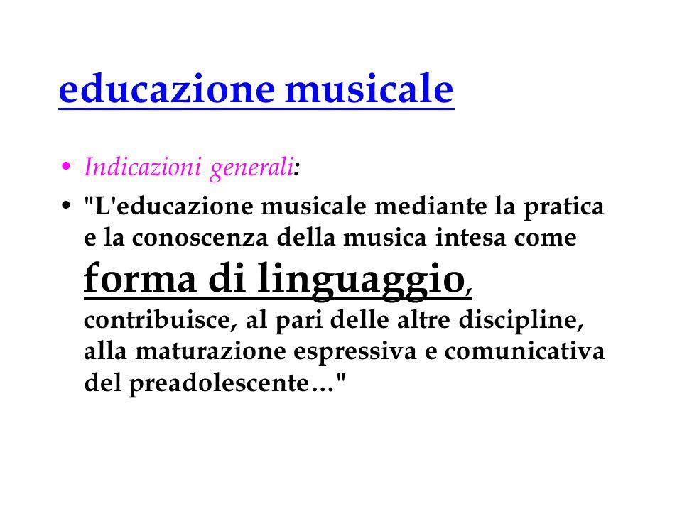 educazione musicale Indicazioni generali :