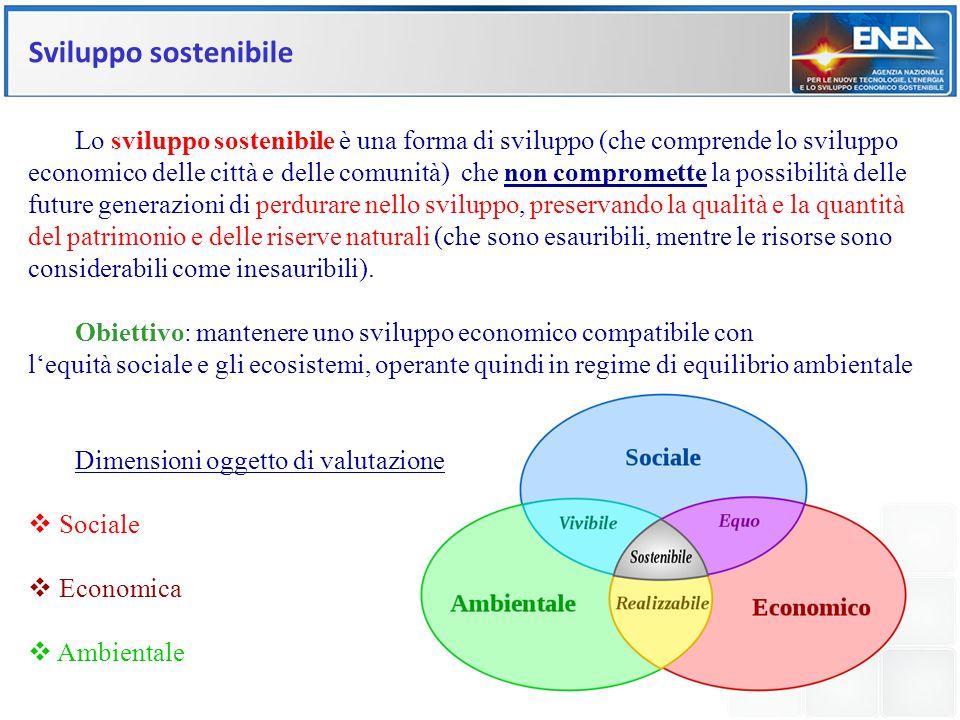 Sviluppo sostenibile Lo sviluppo sostenibile è una forma di sviluppo (che comprende lo sviluppo economico delle città e delle comunità) che non compro