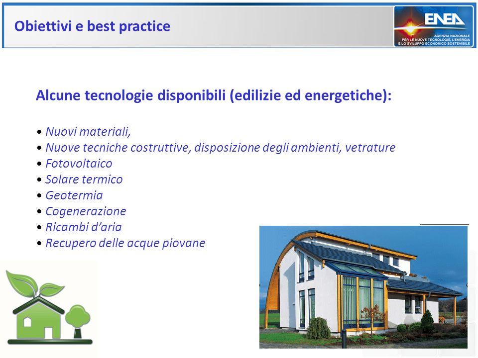 Obiettivi e best practice Alcune tecnologie disponibili (edilizie ed energetiche): Nuovi materiali, Nuove tecniche costruttive, disposizione degli amb