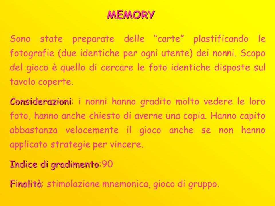 MEMORY Sono state preparate delle carte plastificando le fotografie (due identiche per ogni utente) dei nonni. Scopo del gioco è quello di cercare le