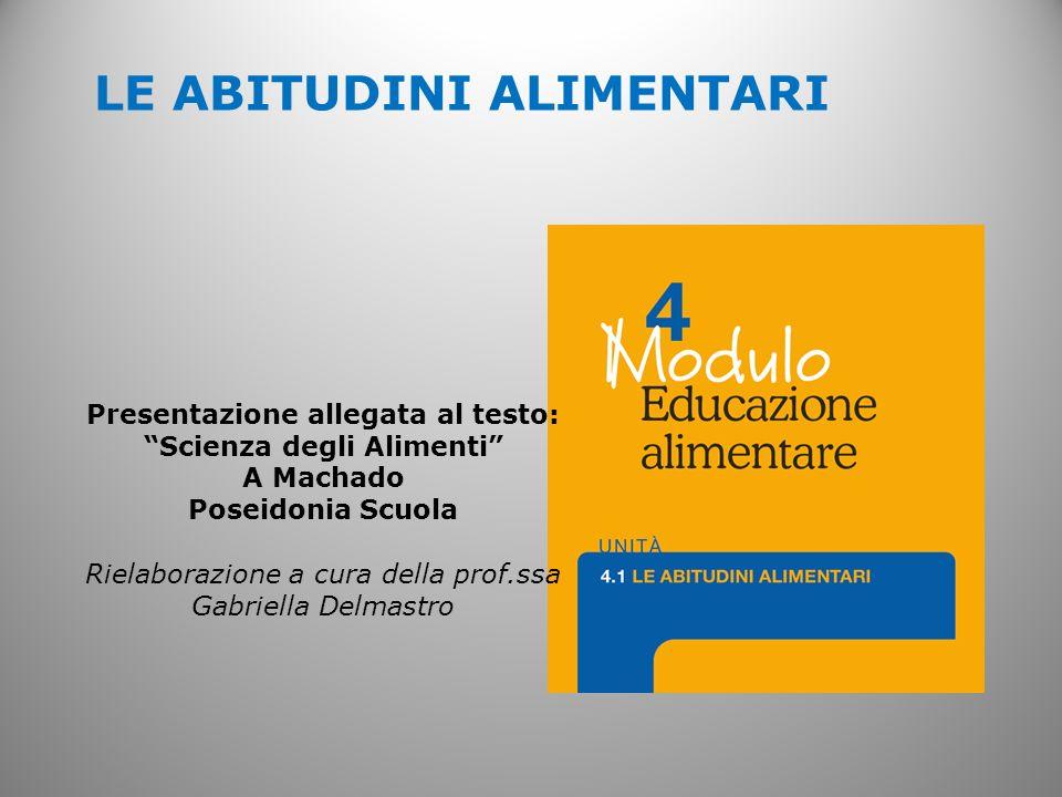 LE ABITUDINI ALIMENTARI Presentazione allegata al testo: Scienza degli Alimenti A Machado Poseidonia Scuola Rielaborazione a cura della prof.ssa Gabri