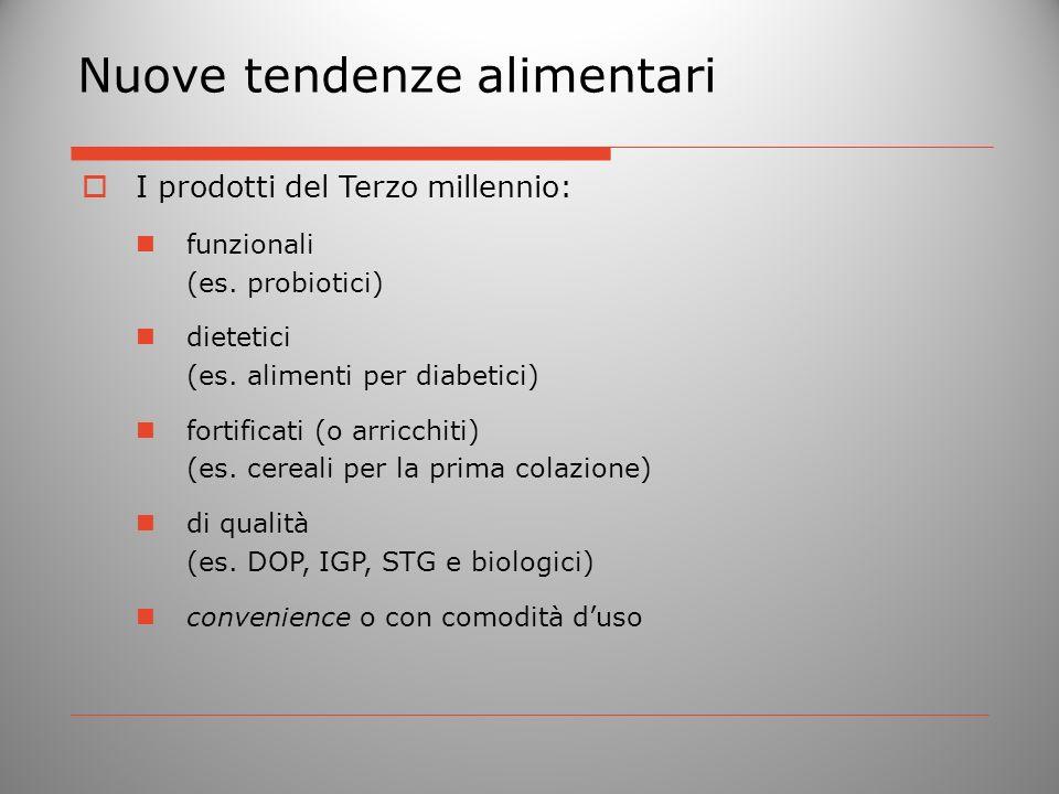 Nuove tendenze alimentari I prodotti del Terzo millennio: funzionali (es. probiotici) dietetici (es. alimenti per diabetici) fortificati (o arricchiti