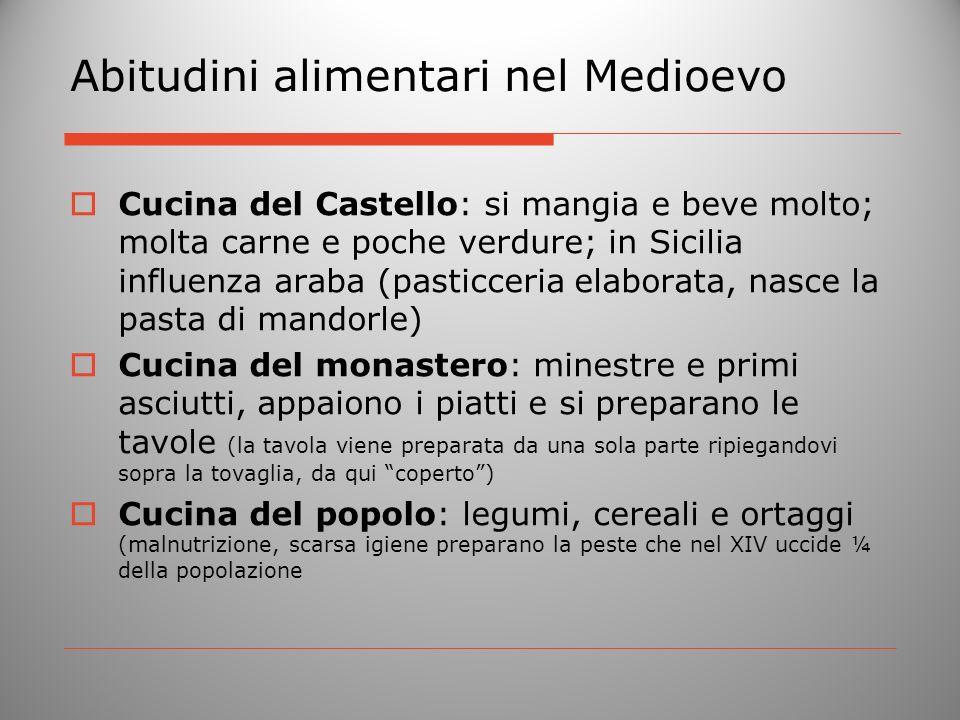 Abitudini alimentari nel Medioevo Cucina del Castello: si mangia e beve molto; molta carne e poche verdure; in Sicilia influenza araba (pasticceria el