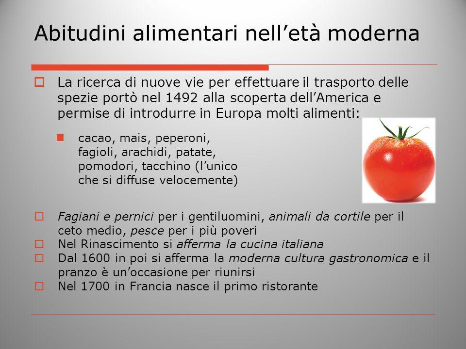 Abitudini alimentari nelletà moderna La ricerca di nuove vie per effettuare il trasporto delle spezie portò nel 1492 alla scoperta dellAmerica e permi