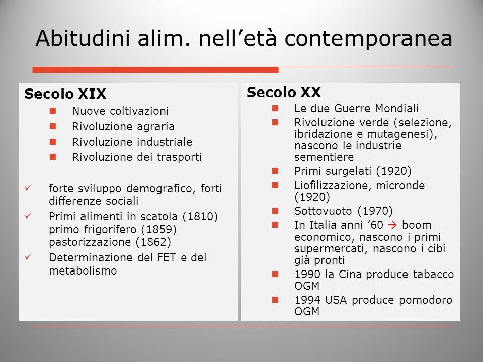 Abitudini alim. nelletà contemporanea Secolo XIX Nuove coltivazioni Rivoluzione agraria Rivoluzione industriale Rivoluzione dei trasporti forte svilup