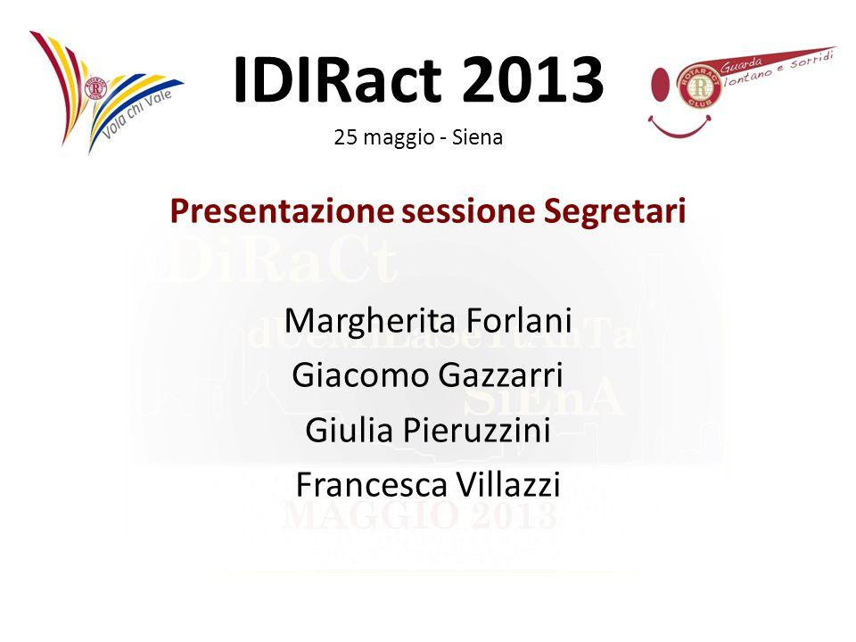 IDIRact 2013 25 maggio - Siena Il Segretario Dal regolamento si evince che: Il segretario conserverà tutti i documenti del club, redigerà i verbali di tutte le riunioni del club e del consiglio direttivo