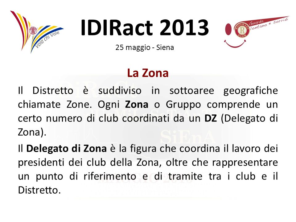 IDIRact 2013 25 maggio - Siena I rapporti con il Rotary Padrino Il Rotary Club Padrino rappresenta il legame diretto tra il vostro Club Rotaract ed il Rotary International.