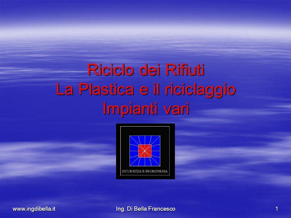 www.ingdibella.itIng. Di Bella Francesco1 Riciclo dei Rifiuti La Plastica e il riciclaggio Impianti vari