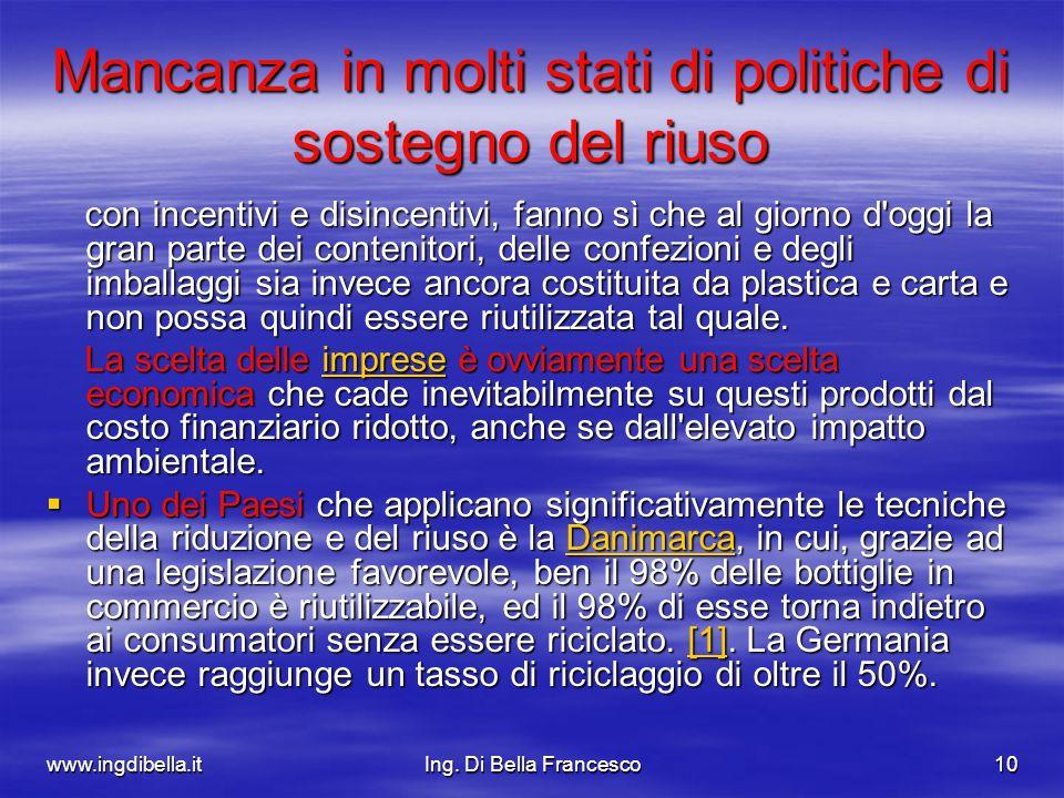 www.ingdibella.itIng. Di Bella Francesco10 Mancanza in molti stati di politiche di sostegno del riuso con incentivi e disincentivi, fanno sì che al gi