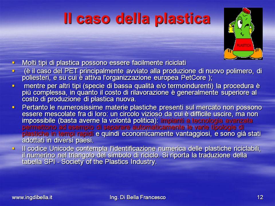 www.ingdibella.itIng. Di Bella Francesco12 Il caso della plastica Molti tipi di plastica possono essere facilmente riciclati Molti tipi di plastica po
