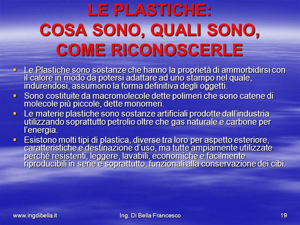 www.ingdibella.itIng. Di Bella Francesco19 LE PLASTICHE: COSA SONO, QUALI SONO, COME RICONOSCERLE Le Plastiche sono sostanze che hanno la proprietà di