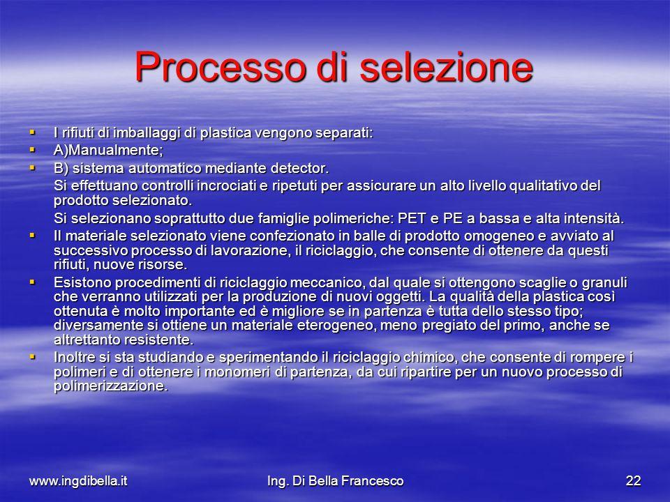 www.ingdibella.itIng. Di Bella Francesco22 Processo di selezione I rifiuti di imballaggi di plastica vengono separati: I rifiuti di imballaggi di plas