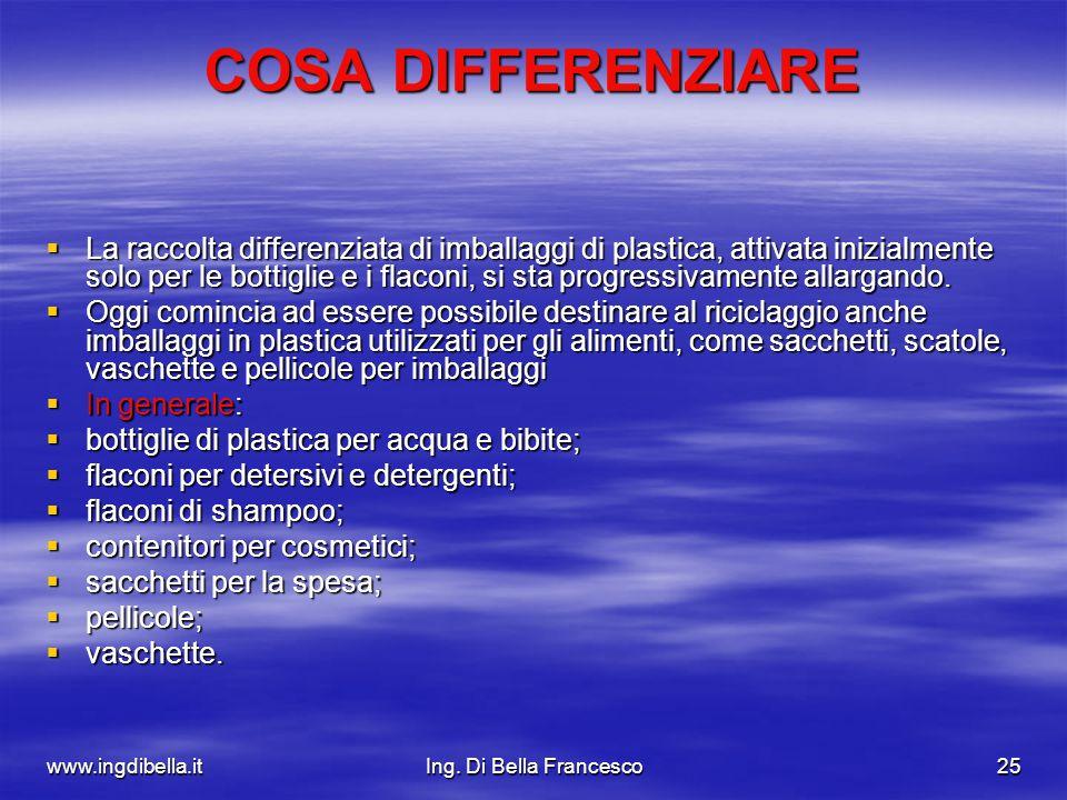 www.ingdibella.itIng. Di Bella Francesco25 COSA DIFFERENZIARE La raccolta differenziata di imballaggi di plastica, attivata inizialmente solo per le b