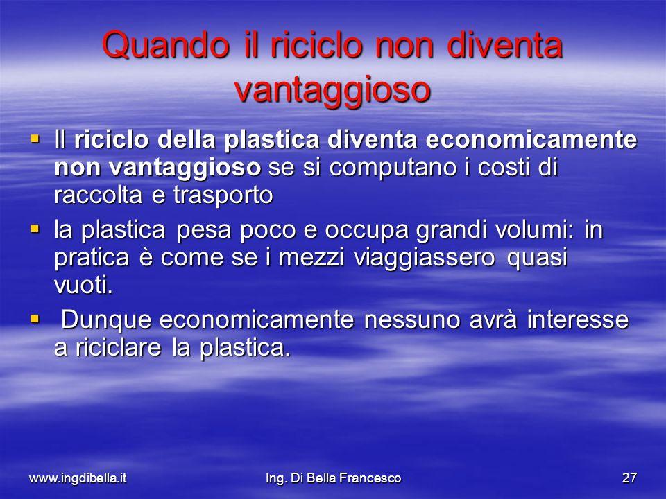 www.ingdibella.itIng. Di Bella Francesco27 Quando il riciclo non diventa vantaggioso Il riciclo della plastica diventa economicamente non vantaggioso