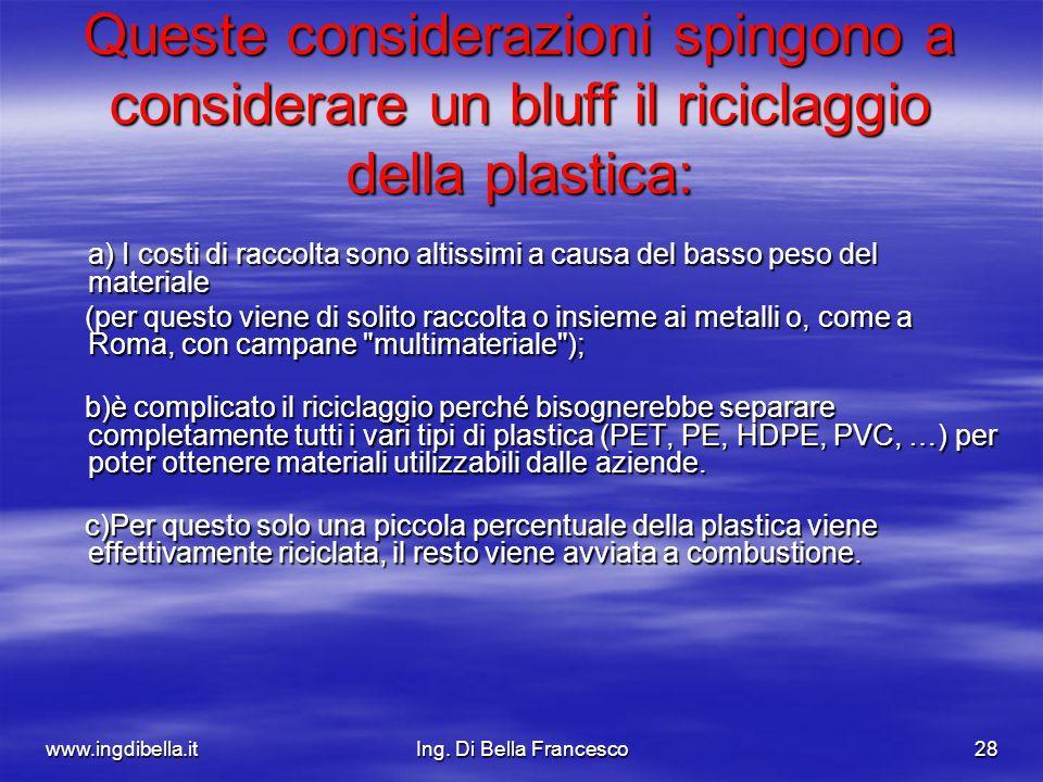 www.ingdibella.itIng. Di Bella Francesco28 Queste considerazioni spingono a considerare un bluff il riciclaggio della plastica: a) I costi di raccolta