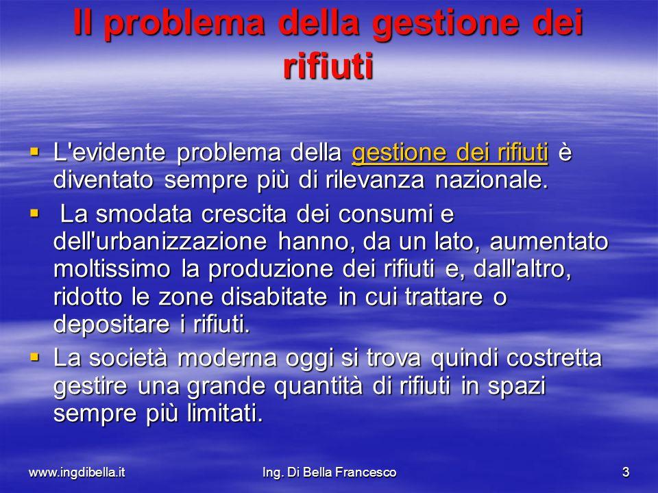 www.ingdibella.itIng. Di Bella Francesco3 Il problema della gestione dei rifiuti L'evidente problema della gestione dei rifiuti è diventato sempre più