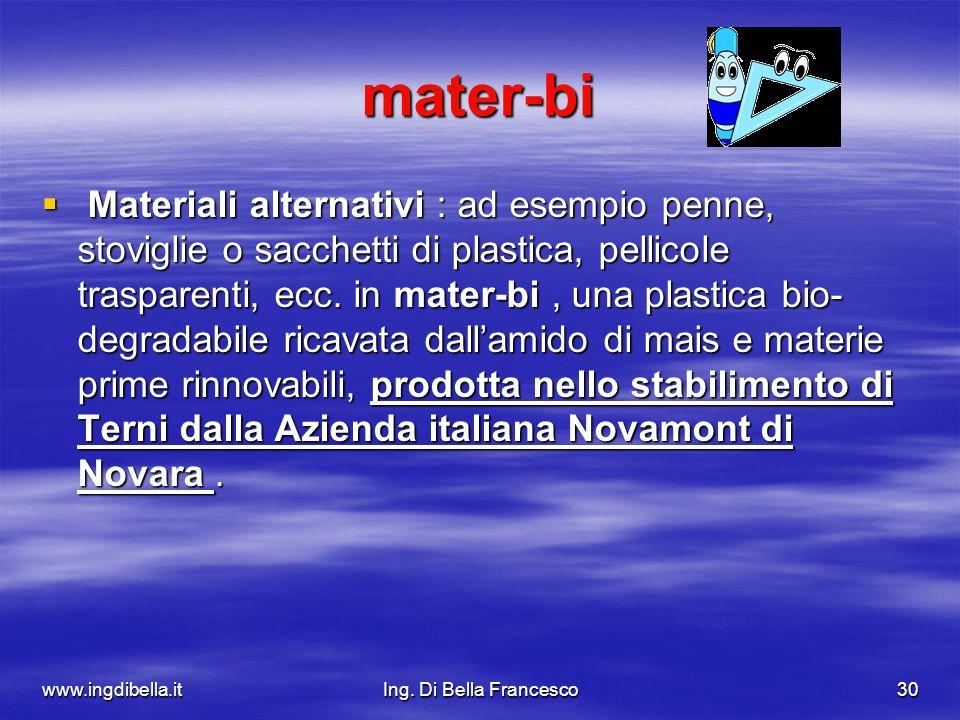 www.ingdibella.itIng. Di Bella Francesco30 mater-bi Materiali alternativi : ad esempio penne, stoviglie o sacchetti di plastica, pellicole trasparenti