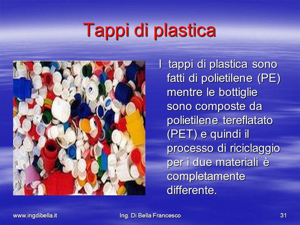 www.ingdibella.itIng. Di Bella Francesco31 Tappi di plastica I tappi di plastica sono fatti di polietilene (PE) mentre le bottiglie sono composte da p