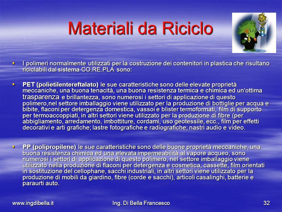 www.ingdibella.itIng. Di Bella Francesco32 Materiali da Riciclo I polimeri normalmente utilizzati per la costruzione dei contenitori in plastica che r