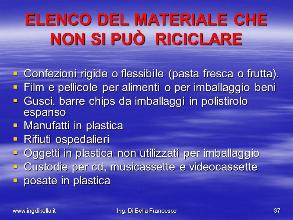 www.ingdibella.itIng. Di Bella Francesco37 ELENCO DEL MATERIALE CHE NON SI PUÒ RICICLARE Confezioni rigide o flessibile (pasta fresca o frutta). Confe