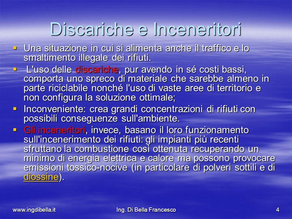 www.ingdibella.itIng. Di Bella Francesco4 Discariche e Inceneritori Una situazione in cui si alimenta anche il traffico e lo smaltimento illegale dei