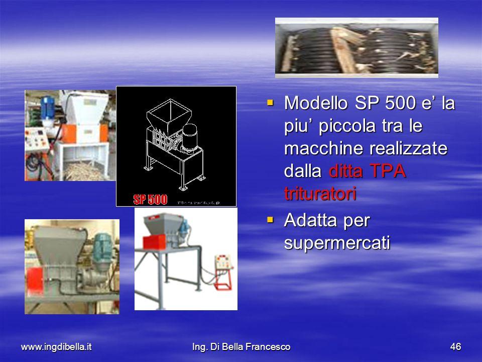 www.ingdibella.itIng. Di Bella Francesco46 Modello SP 500 e la piu piccola tra le macchine realizzate dalla ditta TPA trituratori Modello SP 500 e la