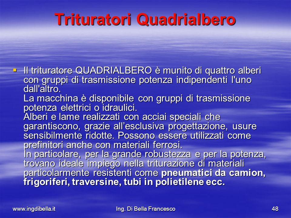 www.ingdibella.itIng. Di Bella Francesco48 Trituratori Quadrialbero Il trituratore QUADRIALBERO è munito di quattro alberi con gruppi di trasmissione