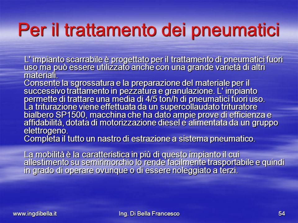 www.ingdibella.itIng. Di Bella Francesco54 Per il trattamento dei pneumatici L' impianto scarrabile è progettato per il trattamento di pneumatici fuor
