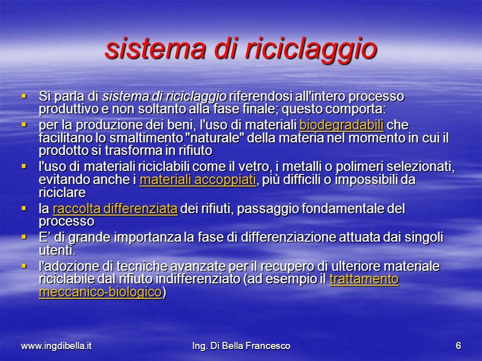 www.ingdibella.itIng. Di Bella Francesco6 sistema di riciclaggio Si parla di sistema di riciclaggio riferendosi all'intero processo produttivo e non s