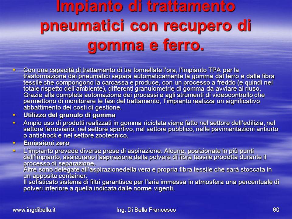 www.ingdibella.itIng. Di Bella Francesco60 Impianto di trattamento pneumatici con recupero di gomma e ferro. Con una capacità di trattamento di tre to