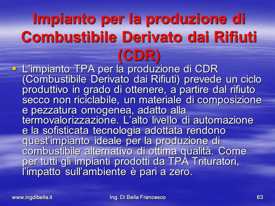 www.ingdibella.itIng. Di Bella Francesco63 Impianto per la produzione di Combustibile Derivato dai Rifiuti (CDR) Limpianto TPA per la produzione di CD