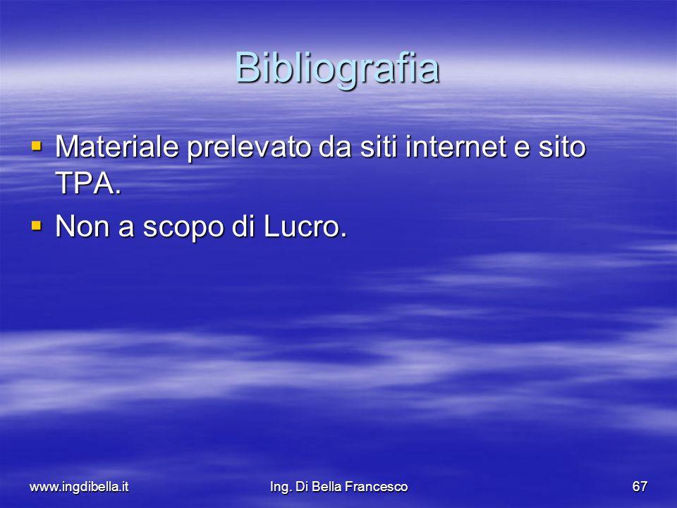 www.ingdibella.itIng. Di Bella Francesco67 Bibliografia Materiale prelevato da siti internet e sito TPA. Materiale prelevato da siti internet e sito T