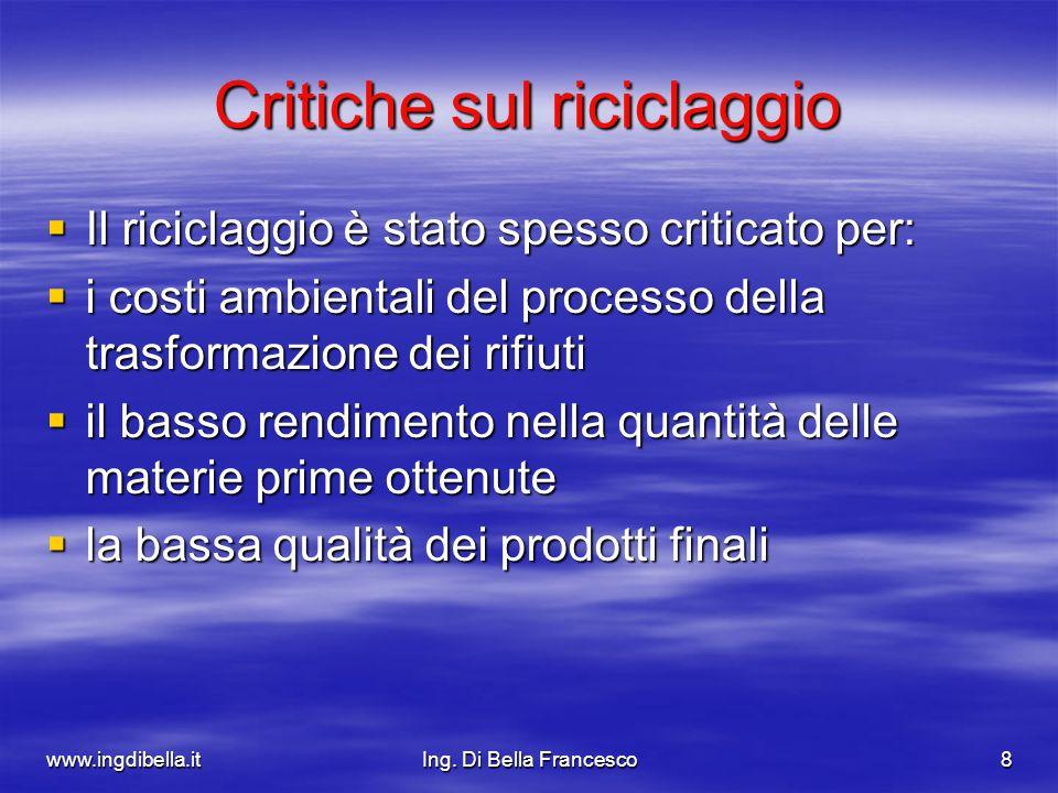 www.ingdibella.itIng. Di Bella Francesco8 Critiche sul riciclaggio Il riciclaggio è stato spesso criticato per: Il riciclaggio è stato spesso criticat