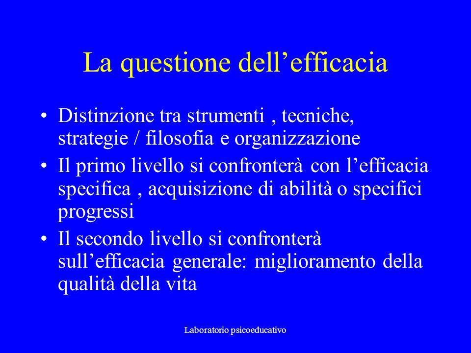 Laboratorio psicoeducativo La questione dellefficacia Distinzione tra strumenti, tecniche, strategie / filosofia e organizzazione Il primo livello si