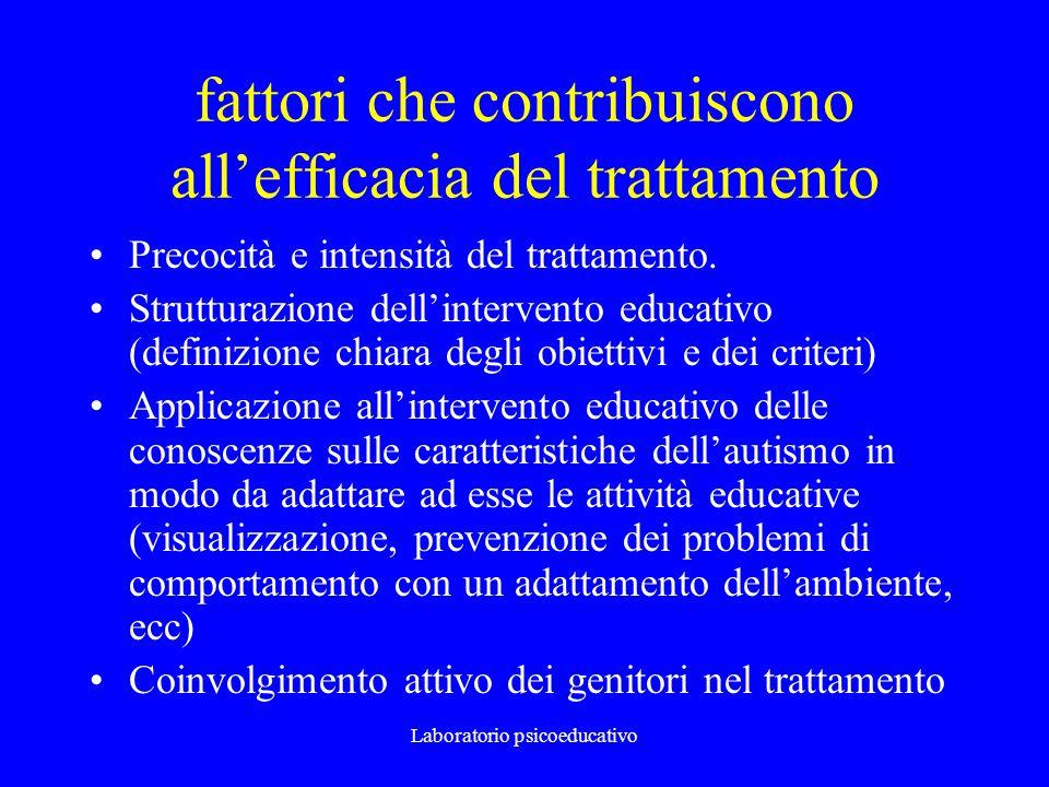 Laboratorio psicoeducativo fattori che contribuiscono allefficacia del trattamento Precocità e intensità del trattamento. Strutturazione dellintervent