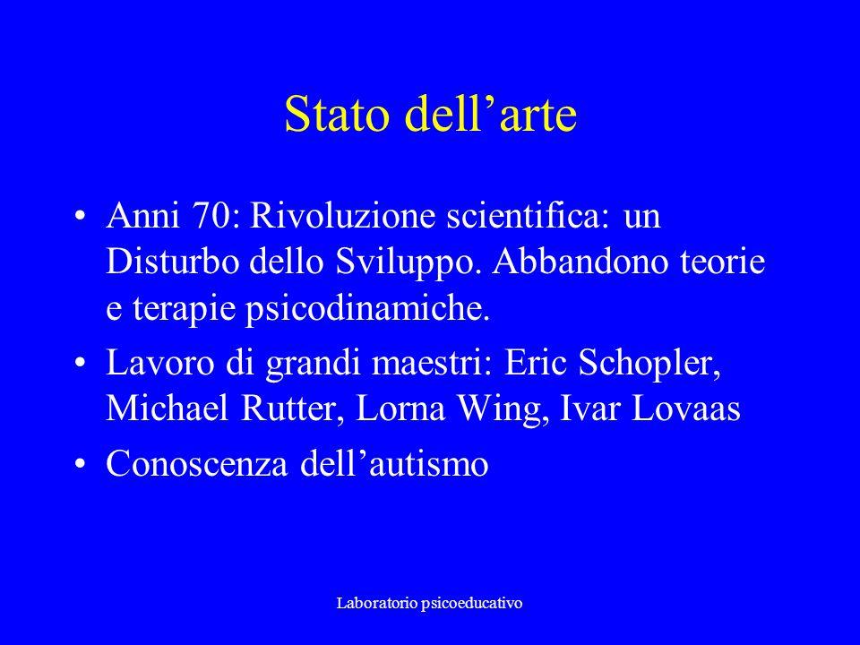 Laboratorio psicoeducativo Stato dellarte Anni 70: Rivoluzione scientifica: un Disturbo dello Sviluppo. Abbandono teorie e terapie psicodinamiche. Lav