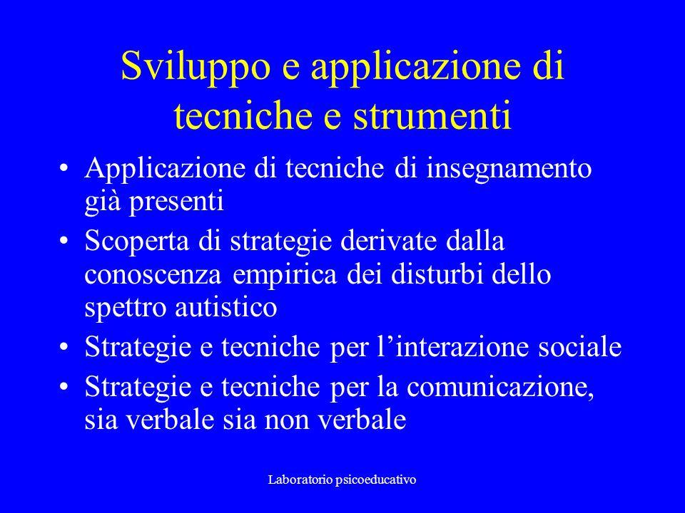 Laboratorio psicoeducativo Sviluppo e applicazione di tecniche e strumenti Applicazione di tecniche di insegnamento già presenti Scoperta di strategie