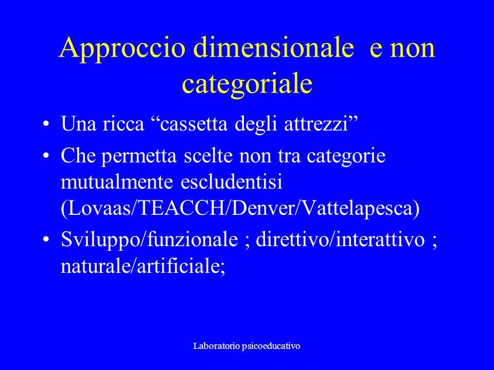 Laboratorio psicoeducativo Approccio dimensionale e non categoriale Una ricca cassetta degli attrezzi Che permetta scelte non tra categorie mutualment