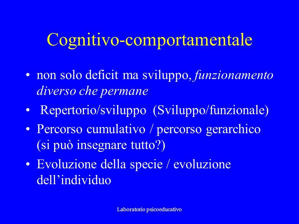 Laboratorio psicoeducativo Cognitivo-comportamentale non solo deficit ma sviluppo, funzionamento diverso che permane Repertorio/sviluppo (Sviluppo/fun