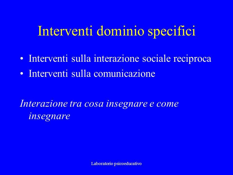 Laboratorio psicoeducativo Interventi dominio specifici Interventi sulla interazione sociale reciproca Interventi sulla comunicazione Interazione tra