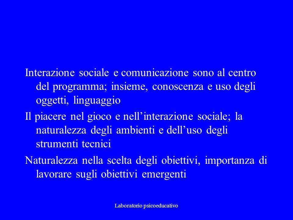 Laboratorio psicoeducativo Interazione sociale e comunicazione sono al centro del programma; insieme, conoscenza e uso degli oggetti, linguaggio Il pi