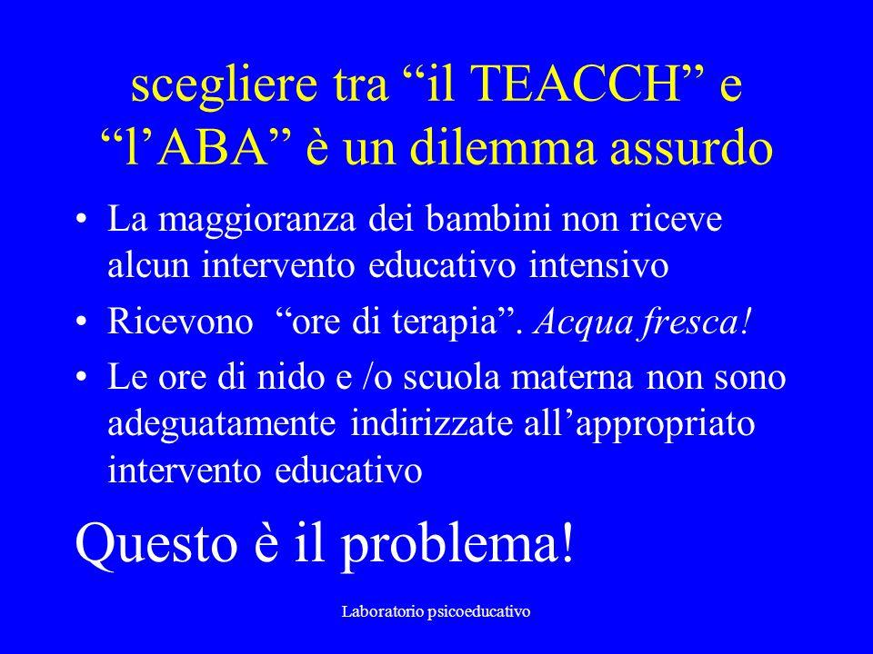 scegliere tra il TEACCH e lABA è un dilemma assurdo La maggioranza dei bambini non riceve alcun intervento educativo intensivo Ricevono ore di terapia