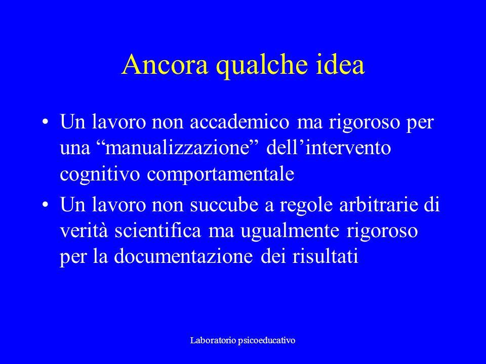 Laboratorio psicoeducativo Ancora qualche idea Un lavoro non accademico ma rigoroso per una manualizzazione dellintervento cognitivo comportamentale U