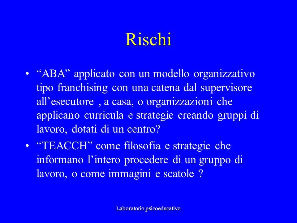 Laboratorio psicoeducativo Rischi ABA applicato con un modello organizzativo tipo franchising con una catena dal supervisore allesecutore, a casa, o o