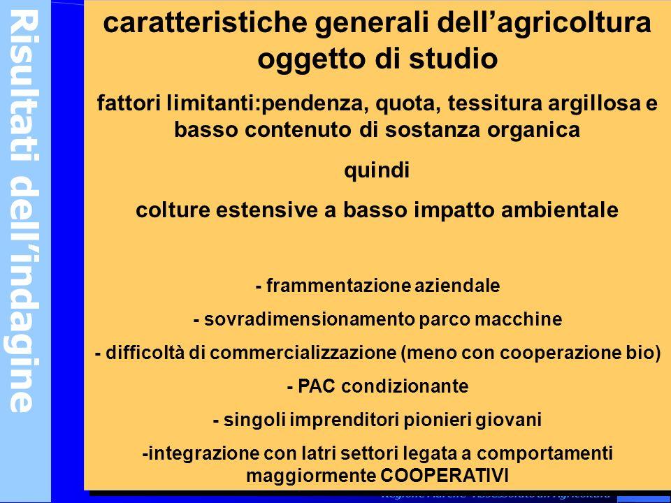 9 Regione Marche -Assessorato allAgricoltura Risultati dellindagine caratteristiche generali dellagricoltura oggetto di studio fattori limitanti:pende